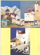 LIECHTENSTEIN - 1986 - Schloss Vaduz - 3 X Maximum Karte - Nr. 63 - FDC - Maximum Cards