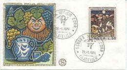 ITALIA - FDC FILAGRANO GOLD 1974 - VITE E VINO - 1946-.. République