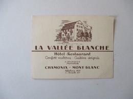 CHAMONIX.MONT BLANC LA VALLEE BLANCHE HÔTEL RESTAURANT H. BOURGEOIS PROPRIETAIRE CARTE - 1950 - ...