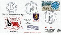 1975 - Oblitération Temporaire De La Foire Européenne à Strasbourg. + Cachet Du Conseil De L'Europe - Cachets Commémoratifs