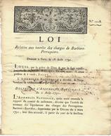 F.12054 ADMINISTRATION ET COMMERCE REGLEMENTATION  BARBIERS PERRUQUIERS  SUPPRESSION DES CHARGES - Decrees & Laws