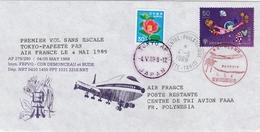 1er Vol Tokyo Papeete 1989 En Boeing 747 - Japan Polynésie - Air France - Inaugural Flight Erstflug - Lettres & Documents