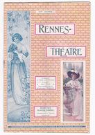 Rare ! Programme Saison 1909-1910 Rennes (Ille-et-Vilaine), Théâtre, Werther, Rip, Nombreuses Pubs Commerces Rennes - Programmi