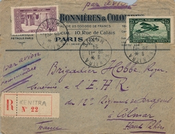 1924 , MARRUECOS FRANCÉS , CERTIFICADO , CORREO AÉREO , KENITRA - COLMAR , TRÁNSITO RABAT , LLEGADA , PUBLICIDAD - Maroc (1891-1956)