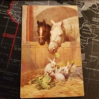 Peinture Chevaux Et Lapins (D) - Caballos