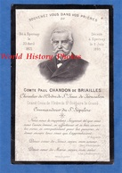 Faire Part De Décés - EPERNAY - Comte Paul CHANDON De BRIAILLES - 1895 - Ordre De St Jean De Jérusalem - Cartes De Visite