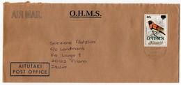 AITUTAKI - AIR MAIL COVER TO ITALY 2000 / THEMATIC STAMP-BIRD OVERPRINT O.H.M.S. - Aitutaki