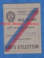 Carte Ancienne D' Electeur - PARIS 8e - Quartier Roule - 1945 - Marcel HALBRONN Publiciste - Historical Documents