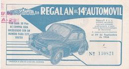 Billet Almacenes Capitol Regalan El 14è Automovil 29/09/1956  4 CV Renault (recto/verso) - Espagne