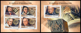 MALDIVES 2018 - European Freemasonry. M/S + S/S Official Issue - Franc-Maçonnerie