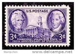 1946 USA 150th Years Tennessee Statehood Stamp Sc#941 Historic Famous - United States