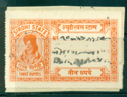 Sirohi State 1944-48 Court Fee Ty.15 3R Orange Lot36670 - Unclassified