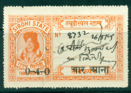 Sirohi State 1944-48 Court Fee Ty.15 Opt 4R On 3R Orange Lot36671 - Unclassified