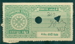 Sonepur State 1940s Court Fee Ty.10 4a Green Lot36605 - Unclassified