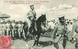 Straits, SINGAPORE, Sultan Of Johore At King's Birthday Parade (1909) Postcard - Malaysia