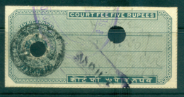 Terikarhwal State 1940s Court Fee Ty.7 5R Blue Green Lot36601 - Unclassified