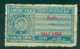 Travancore State 1930s? Court Fee Ty.? Half Anna Blue Lot36787 - Unclassified