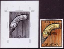 Tonga Niuafo'ou 1991 Long Horned Beetle ERROR First Proofing - Hollow Letters + Hollow Value + Specimen Issued Stamp - Insekten