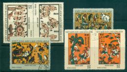 Vietnam North 1972 Folk Engravings From Dong FU Lot33884 - Vietnam