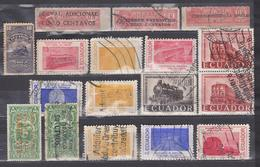 ECUADOR 1924-1958 TRAIN RAILROAD 16 DIFFERENT STAMS CANCELLED 1 PAIR SC# 295-296 O201 RA37 RA44 620-628 642 644 - Ecuador