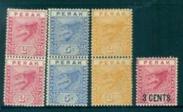 Malaya Perak 1898-95 Assorted Tigers MLH Lot82519 - Gran Bretaña (antiguas Colonias Y Protectorados)