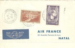 1937 -DEPLIANT AIR-FRANCE  Affr.  Pont Du Gard + Mermoz  + 3 Autres Pays - Marcophilie (Lettres)
