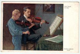 Spectacle // Musique // Carte Fantaisie // Musiciens Avec Leur Violon - Musique Et Musiciens