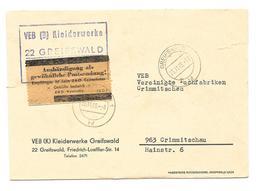 """DDR ZKD Brief + Kontrolle """"Aushändigung Als Gewö. Postsendung, VEB Kleiderwerke Greifswald 1966 - Dienstpost"""