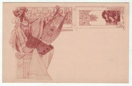 Spectacle // Musique // Carte Fantaisie // Musicienne Avec Sa Harpe - Musique Et Musiciens