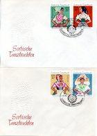 """DDR 2 Schmuck-FDC Mi 1668/71 """"Sorbische Mädchen-Tanztrachten (I)"""", ESSt BERLIN 4.5.1971 - [6] République Démocratique"""