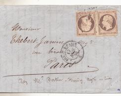 Yvert N°16. Lettre De Vitré Pour Paris De 1859, Les 2 Tp En Position Tête Bêche Nuance Oxydée Rare Ainsi. Complete Tbe. - 1853-1860 Napoléon III