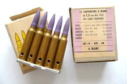 BOITE DE 15 CARTOUCHES A BLANC DE 7,5 Mm Mle 1936 SUR LAMES CHARGEURS NEUTRALISÉES. - Armes Neutralisées