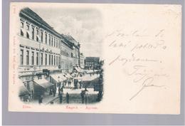 CROATIA Zagreb  Agram Horsetram 1899 OLD POSTCARD 2 Scans - Kroatië