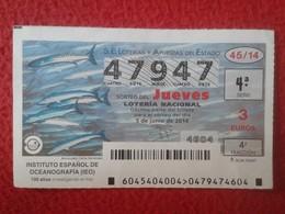 SPAIN ESPAGNE DÉCIMO DE LOTERÍA NACIONAL NATIONAL LOTTERY LOTERIE NATIONALE IEO OCEANOGRAFÍA OCEANOGRAPHY EL MAR THE SEA - Lottery Tickets