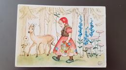LITTLE RED RIDING HOOD -   - Old Postcard - -  1950s - Vertellingen, Fabels & Legenden