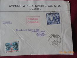 Lettre De Chypre De 1939 A Destination De Suisse .Marque De Censure - Chypre (...-1960)