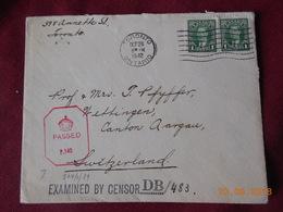 Lettre Du Canada De 1942 A Destination De Suisse .Marque De Censure - 1937-1952 Règne De George VI