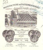 PITIOT  Manufacture De Passementeries    LYON - Brotteaux  TOP Ilustration Usine 1898 - Bills Of Exchange