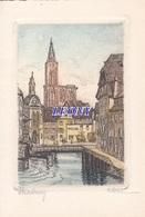 CARTE DOUBLE De STRASBOURG (67) - CLERC - Papier PARCHEMIN - Strasbourg