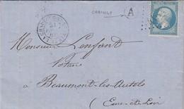 LETTRE FRANCE. 21 FEVR 677. LOIRET LA-CHAPELLE-St MESMIN. GC 4670. BOITE RURALE A = CHAIGNY. VERSO PERLÉ BEAUMONT-LES-AU - Marcofilia (sobres)