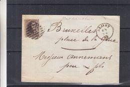 Belgique - Lettre De 1863 - Oblit Alost - Cachet 8 Barres - Exp Vers Bruxelles - Cachet Facteur - 1858-1862 Medallions (9/12)