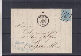 Belgique - Lettre De 1867 - Oblit Anvers - Exp Vers Bruxelles - - 1865-1866 Linksprofil