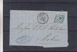 Belgique - Lettre De 1868 - Oblit Liège - Exp Vers Malines - - 1865-1866 Linksprofil