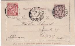 MONACO 1901  ENTIER POSTAL CARTE-LETTRE DE MONTE CARLO - Entiers Postaux