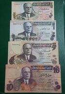 Tunisie : 4 Billets De Banque 1/2 -1 - 5 & 10 Dinars 1973 - Tunisia