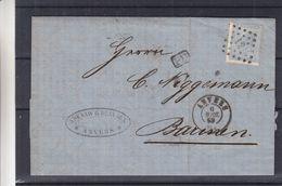 Belgique - Lettre De 1869 - Oblit Anvers - Exp Vers Barinen  ? - Cachet Verviers  4 Gosen - 1865-1866 Linksprofil