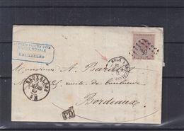 Belgique - Lettre De 1869 - Oblit Bruxelles - Exp Vers Bordeaux - Cachet Belg à Erquelines Et Paris à Bordeaux - 1865-1866 Linksprofil