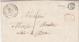 LETTRE FRANCE. 26 FEVR 52. LOIRET CHATILLON-SUR-LOIRE. TAXE PLUME 1. CL. BOITE RURALE B = CERNOY - 1849-1876: Periodo Classico