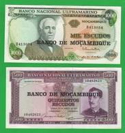 Mozambico Mozambique Banco Ultramarino 500 + 1000 Escudos Law 1967 + 1972 - Mozambique