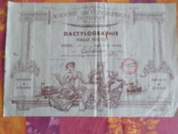 DIPLOME ACADEMIE DACTYLOGRAPHIQUE DE FRANCE PHRASE REPETEE VITESSE 12 MOTS Mn 27 Juin 1955 - Diplomi E Pagelle